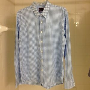 Untuckit Light Blue Gingham Shirt in Large